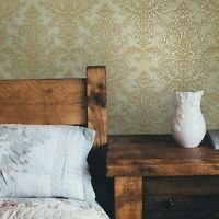 Wallpaper vintage damask beige cream gold metallic textured wallcoverings rolls