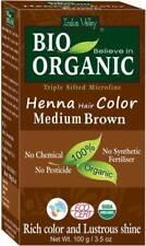 Indus Valley Bio Organic Henna Hair Color Medium Brown Rich Lustrous Shine 100gm