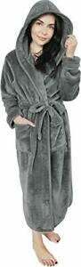 Women Fleece Hooded Bathrobe - Plush Long Robe NY Threads