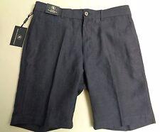 Hart Schaffner Marx Size 34 FLAT FRONT Blue Navy Linen Wool Shorts New Mens