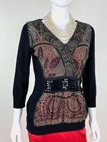 Etro New 10 US 46 IT M Black Knit Wool Sweater Dress Top Silk Front Runway Auth
