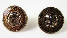 £20 Boho Celtic Tribal Gold Brown Round Stud Earrings Swarovski Elements Crystal