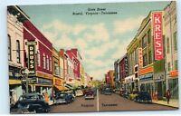 Bristol Virginia-Tennessee State Street View Kress Millers Old Cars Postcard D37