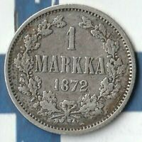 1872 Finland (Russian Empire) 1 Markka~ 75% AG~ Only 538,000 Minted~ Nice One~