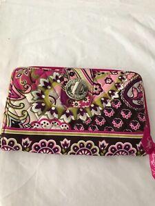 Vera Bradley Wallet Pink Paisley Turn Lock Zip Around Accordion New