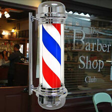 Classic 28 Inch Barber Shop Pole Red White Blue Spinning Light Open Hair Sign CA