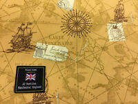 Tan Antique Map, Old Map Chart ,Nautical Printed 100% Cotton Poplin Fabric.