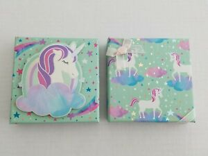 Gift Card Box Set of 2 Cute Dogs or Unicorns Design, Brand new