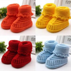 Handcraft Toddler Newborn Baby Girls Boys Knit Crochet Shoes Winter Warm Boots