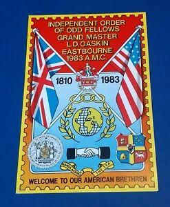 VINTAGE POSTCARD INDEPENDENT ORDER OF ODD FELLOWS 1810 - 1983 EASTBOURNE UK US A