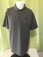 Under Armour Heatgear Loose Men's Gray Polo Shirt Size Large Polyester