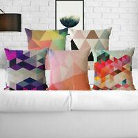 "Color Geometry Home Decor 18"" Pillow Case Sofa Waist Cushion Cover Cotton Linen"