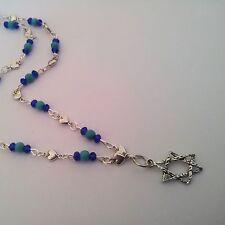 New listi 00003A10 ng Magen David Necklace Pendant Handmade Israeli Fashion Silver & Turquoise Gems