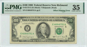 1990 $100 FRN Richmond, VA PMG Choice Very Fine 35 Offset Printing Error