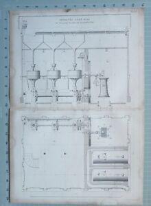 1847 Entwicklung Aufdruck Verbessert Korn Mühle Von William Fairbairn Machester