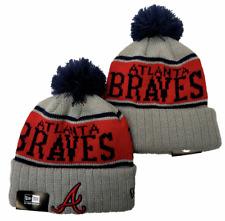Atlanta Braves MLB Baseball Beanie Cap Knit Warm Winter Pom Hat Fleece lined