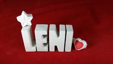Beton, Steinguss Buchstaben 3D Deko Namen Schriftzug LENI als Geschenk verpackt