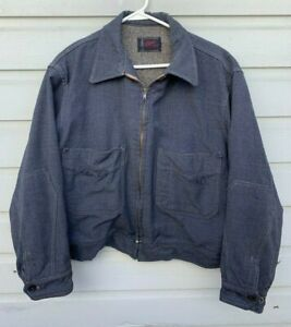 VTG 1950s Bens Blanket Lined Blue Wool Gabardine Western Rockabilly Work Jacket