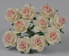 50 OFF WHITE BABY PINK Rose (1cm) Mulberry Paper Flowers wedding miniature card