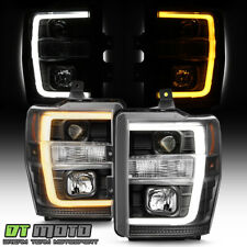 2008-2010 Ford F250 F350 Superduty Blk Switchback LED Tube Projector Headlights