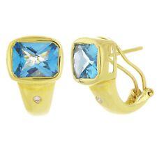 14k Yellow Gold Blue Topaz & Diamond Half Hoop Earrings