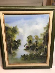 Miriam Ragan Framed Oil Painting On Board New Orleans Louisiana Bayou 1976