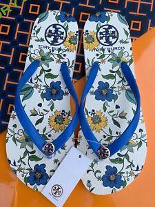 Tory Burch PVC Flip Flop Flops Thong Flat Sandals LOVE FLORAL Blue Many Sizes