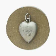 vintage / sterling silver wwii sweetheart i adore you puffy heart / charm (1.5g)
