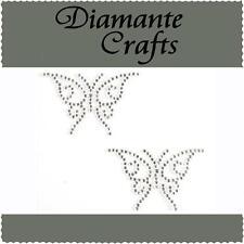 2 x 41mm Clear Diamante Butterflies Rhinestone Vajazzle Self Adhesive Body Gems
