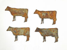 "Lot of 4 Cow Farm Animal Shape 3"" Rusty Metal Vintage Ornament Craft DIY Sign"