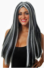 NUOVO E SIGILLATO Lungo Nero e Bianco STREGHE parrucca, Halloween, Costume Festa