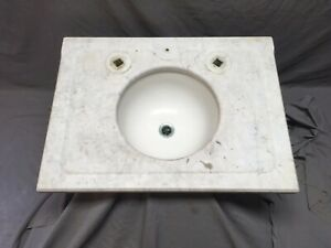 19x26 Antique Marble Bathroom Sink Round Vitreous China Basin Old Vtg 558-20E