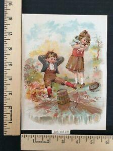 Rare Antique Original VTG Jack and Jill Went up the Hill Color Litho Art Print