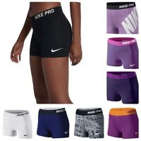 "Women's Nike Pro 3"" Inch DRI-FIT Waistband Training Running Compression Shorts"
