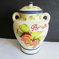 "Biscotti Cookie Jar Hand Painted for Nonni's w Grapes 8x11.5"" Ceramic FREE SH"