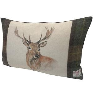 "Harris Tweed Green & Brown Tartan with Stag 50x33cm / 20x13"" Feather Cushion"