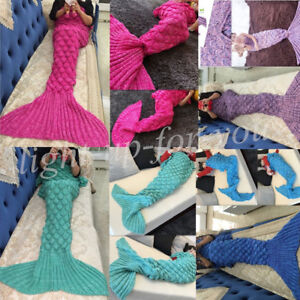 Kids Adult Mermaid Tail Blanket Fish Scales Knitted Crocheted Sofa Quilt UKStock