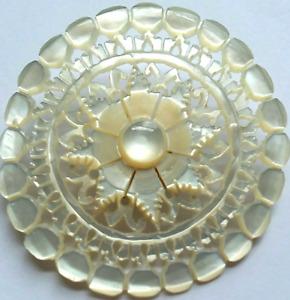 "Vintage Bethlehem Pearl Button, Hand-Carved MOP, 8-point Star design, 2"""