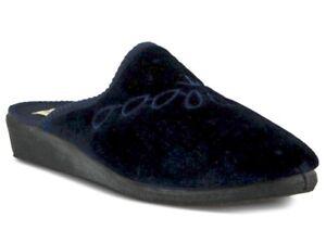 Spring Step Josie-N Velvet Embroidered Navy Slide Slippers Sz 9/US 8.5 RUN SMALL