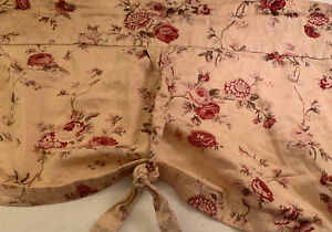 "Waverly Valance Creamy Tan  Pink  Maroon Floral Valance Curtains 64"" X 33"" Lot 2"