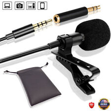 Clip On 3.5mm Lavalier Lapel Microphone Mic With PC Adapter & Pouch For Tiktok