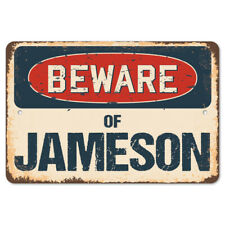 Beware Of Jameson Rustic Sign SignMission Classic Rust Wall Plaque Decoration