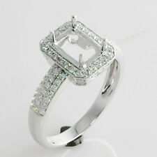 6x8mm Emerald Cut Solid 14Kt White Gold Natural Diamond Semi Mount Ring