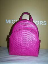 Michael Kors Abbey Python Embossed Leather Back Pack Crossbody XS  Fuschia $348