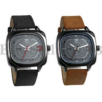 Mens Boys Square Dial Sports Quartz  Watches PU Leather Band Analog Wrist Watch