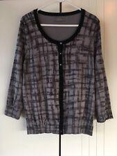 Womens Jacqui E Black Grey Sketch Checkered Fine Knit 3/4 Sleeve Cardigan Sz L