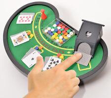 Desktop Miniature Blackjack Table Set with Mini Card Deck Poker Chips
