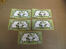 (5) REPLACEMENT 1991 FRANKLIN MINT COLLECTOR'S MONOPOLY $10 BILL DOLLAR MONEY