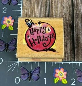 Stamp Craft Happy Holidays Ornament Rubber Stamp Christmas Sparkle Wood #G41