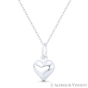 Puffy Heart Love Charm Italy .925 Sterling Silver Reversible 3D 20x12mm Pendant